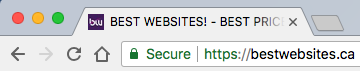 domain name showing secure green padlock